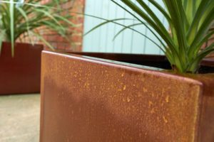 Corten steel garden planter
