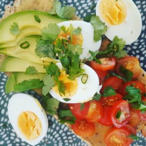 boiled egg avocado and tomatoes on toast 300x300