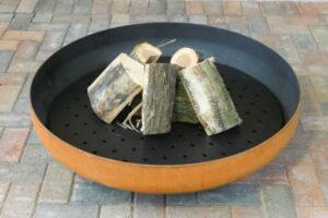black and copper large firepit for garden decking 600x400 1 300x200